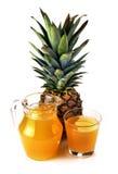 Fruto do abacaxi e um vidro do suco de abacaxi Imagens de Stock Royalty Free