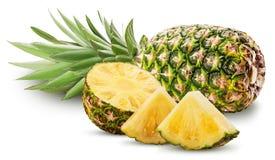 Fruto do abacaxi inteiro e corte ao meio e fatia com licença verde Fotos de Stock