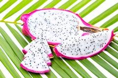 Fruto do dragão na folha de palmeira Foto de Stock Royalty Free