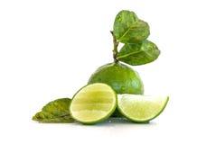 Fruto do limão do cal com uma metade isolado Imagem de Stock
