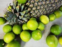 Fruto do limão e do abacaxi Fotos de Stock