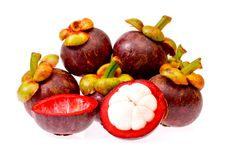 Fruto do mangustão de Tailândia no fundo branco Imagem de Stock