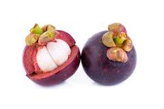 Fruto do mangustão no fundo branco Fotografia de Stock Royalty Free
