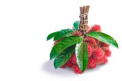 Fruto dos Rambutans com folha Foto de Stock Royalty Free