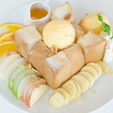 Fruto e Honey Toast misturados com gelado fotos de stock