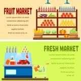 Fruto e mercado de produto fresco ilustração stock