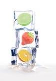 Fruto em cubos de gelo Imagem de Stock Royalty Free