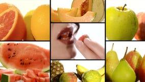 Fruto em uma colagem branca do fundo filme