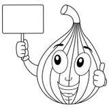 Fruto feliz colorindo do figo que guarda a bandeira ilustração royalty free