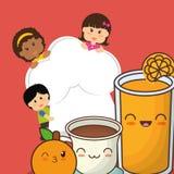 Fruto fresco da laranja do chocolate do suco das crianças do cozinheiro chefe ilustração royalty free