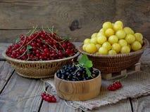 Fruto fresco e bagas nas cestas no fundo de madeira Imagens de Stock Royalty Free