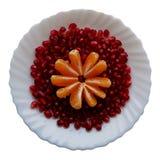 Fruto fresco em uma placa branca Fatias de grões do mandarino e da romã imagem de stock royalty free