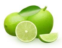 Fruto fresco inteiro do cal com verde, encontro, metade e fatia Imagens de Stock Royalty Free