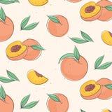 Fruto macro do pêssego com folhas Papel de parede tropical da nectarina, teste padrão suculento do alimento biológico Tampa de ma ilustração do vetor