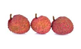 Fruto maduro Unpeeled do lichi no fundo branco Foto de Stock Royalty Free