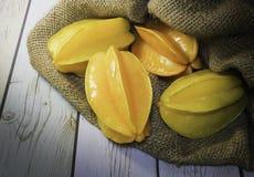 Fruto tailandês, maçã de estrela no saco Foto de Stock Royalty Free