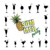 Fruto tropical do fundo do cartão do partido do verão, grupo do vidro de cocktail Imagens de Stock Royalty Free