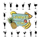 Fruto tropical do fundo do cartão do partido do verão, grupo do vidro de cocktail Imagens de Stock