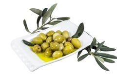 Fruto verde-oliva e folhas embebidos no azeite Fotos de Stock Royalty Free