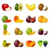 Frutos ajustados do ícone Imagem de Stock