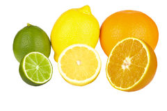 Frutos alaranjados, cal, limão Imagens de Stock
