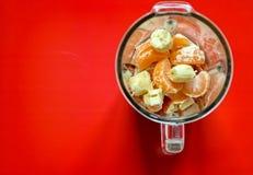 Frutos antes de misturar acima em um batido saudável foto de stock