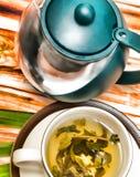 Frutos bebida e rafrescamento das mostras dos chás de verde-lima foto de stock