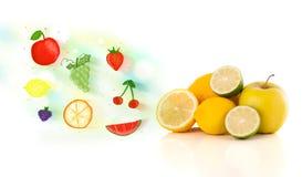 Frutos coloridos com frutos ilustrados tirados mão Foto de Stock