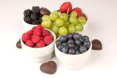 Frutos com chocolate Fotos de Stock Royalty Free