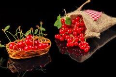 Frutos da cereja e do corinto vermelho em um fundo escuro Fotos de Stock Royalty Free