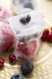 Frutos de baga frescos congelados em cubos de gelo Fotos de Stock Royalty Free