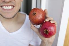 Frutos de romã vermelhas nas mãos de um homem do close-up que sorria Imagens de Stock Royalty Free