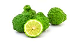 Frutos do cal do Kaffir isolados no branco Fotos de Stock Royalty Free