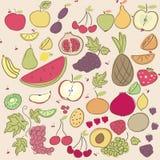 Frutos do Doodle Imagem de Stock