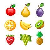 Frutos do pixel para o grupo do vetor dos ícones dos jogos Fotografia de Stock