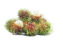 Frutos do Rambutan isolados no branco Fotografia de Stock Royalty Free