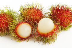 Frutos do Rambutan no branco Imagens de Stock