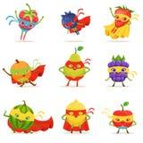 Frutos do super-herói nas máscaras e cabos ajustados desenhos animados criançolas bonitos de caráteres humanizados nos trajes Fotografia de Stock