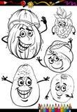 Frutos dos desenhos animados ajustados para o livro para colorir Imagens de Stock Royalty Free
