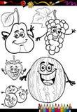 Frutos dos desenhos animados ajustados para o livro para colorir Fotografia de Stock