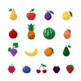 Frutos e bagas dos ícones do vetor no grupo liso do estilo Foto de Stock Royalty Free
