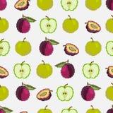 Frutos e bagas Teste padrão sem emenda das maçãs e das ameixas pixel embroidery Vetor ilustração stock