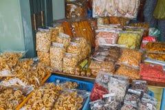 Frutos e peixes secados Produtos de peixes fritados Foto 2016 do curso Fotografia de Stock