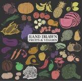 Frutos e vegetarianos tirados mão ilustração royalty free
