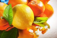 Frutos e vitaminas Imagem de Stock