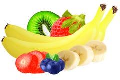 Frutos isolados Mirtilos, maçã e banana isolados no branco Foto de Stock Royalty Free