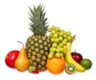 Frutos isolados no branco. Frutos frescos tropicais sortidos Imagens de Stock