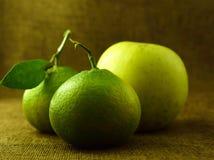 Frutos, mandarino e uma maçã Imagens de Stock