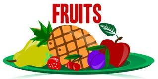 Frutos na placa Imagem de Stock Royalty Free