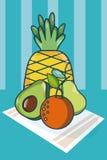 Frutos na toalha de mesa ilustração royalty free